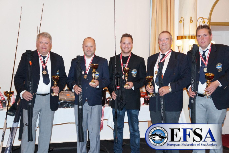 Swedish A-Team, European Champions Species 2015; Peter, Benny, Henrik, Magnus, Anders.